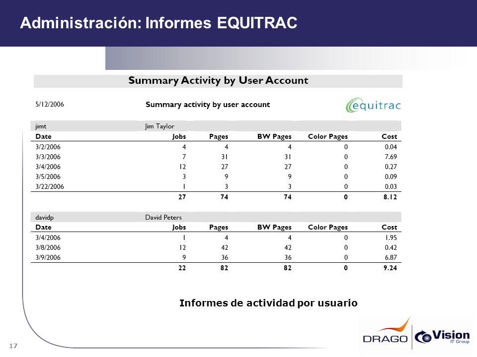 Administración: Informes EQUITRAC