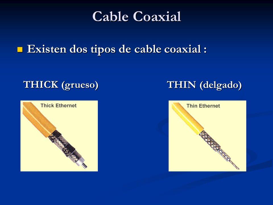 Cable Coaxial Existen dos tipos de cable coaxial : THICK (grueso)