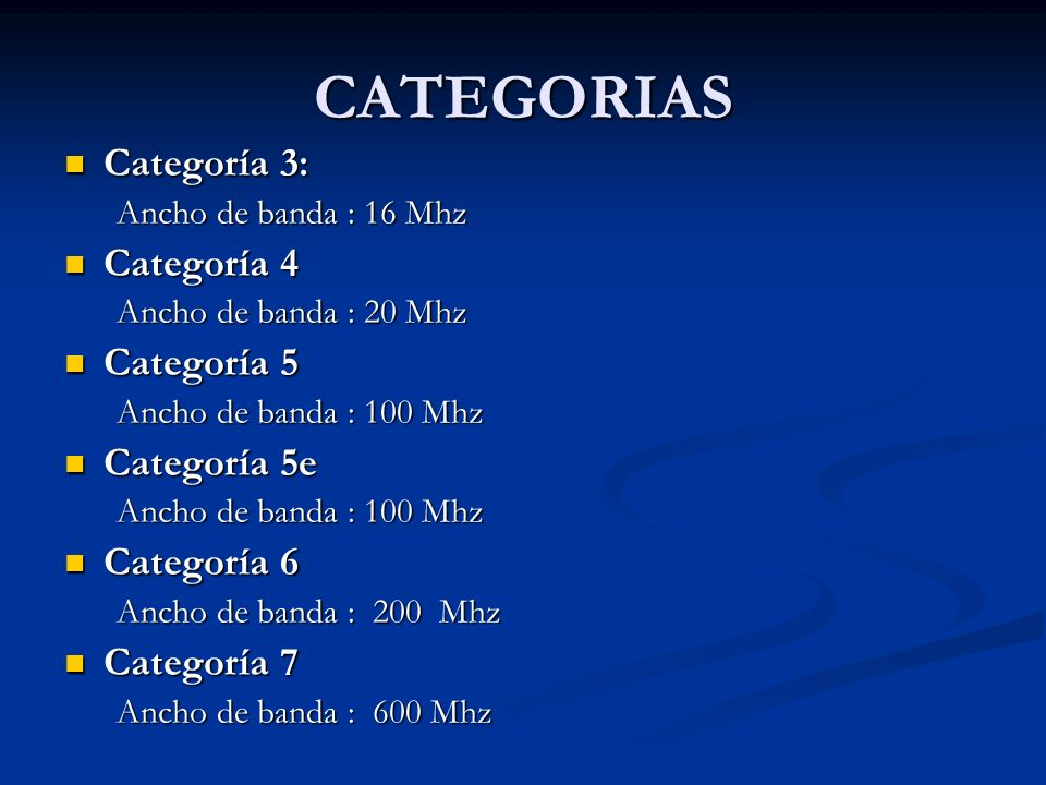 CATEGORIAS Categoría 3: Categoría 4 Categoría 5 Categoría 5e