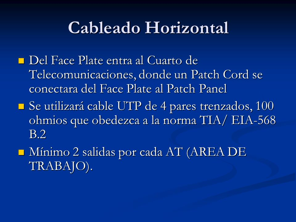 Cableado HorizontalDel Face Plate entra al Cuarto de Telecomunicaciones, donde un Patch Cord se conectara del Face Plate al Patch Panel.