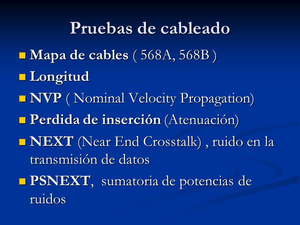 Pruebas de cableado Mapa de cables ( 568A, 568B ) Longitud