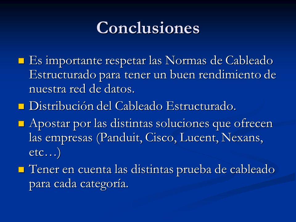 Conclusiones Es importante respetar las Normas de Cableado Estructurado para tener un buen rendimiento de nuestra red de datos.