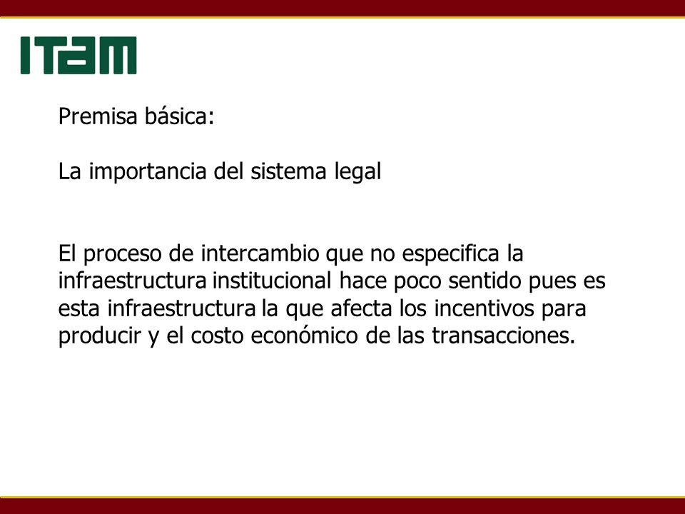 Premisa básica: La importancia del sistema legal El proceso de intercambio que no especifica la infraestructura institucional hace poco sentido pues es esta infraestructura la que afecta los incentivos para producir y el costo económico de las transacciones.