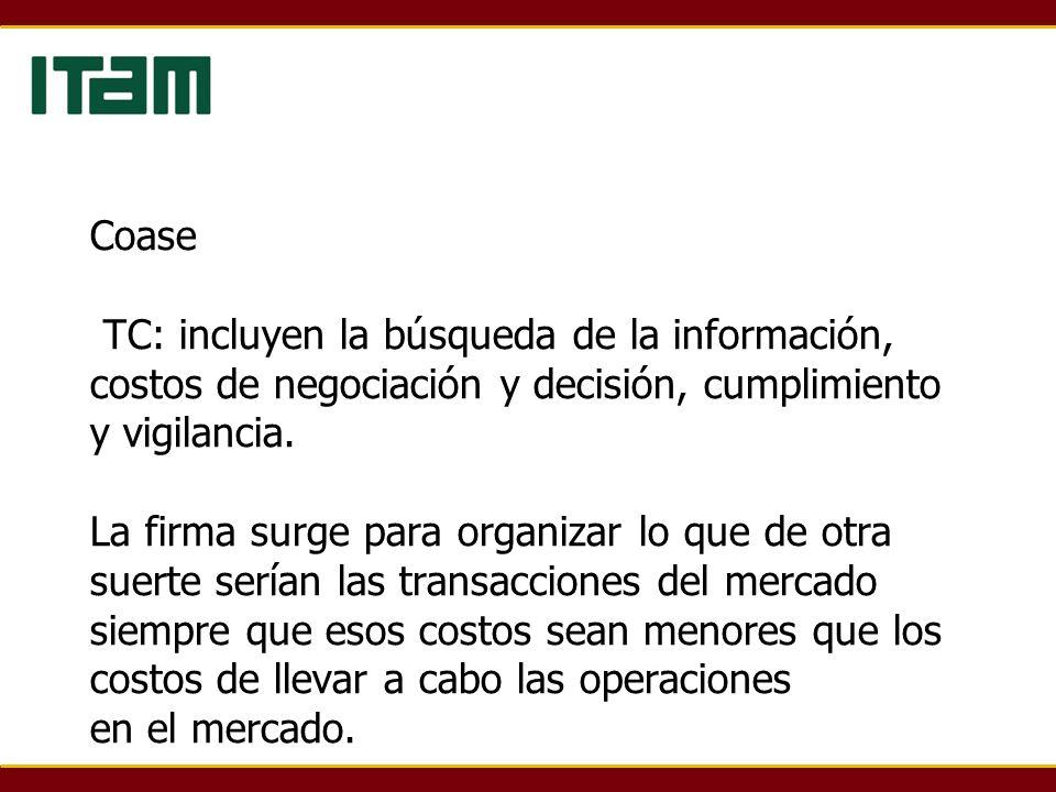 Coase TC: incluyen la búsqueda de la información, costos de negociación y decisión, cumplimiento y vigilancia.