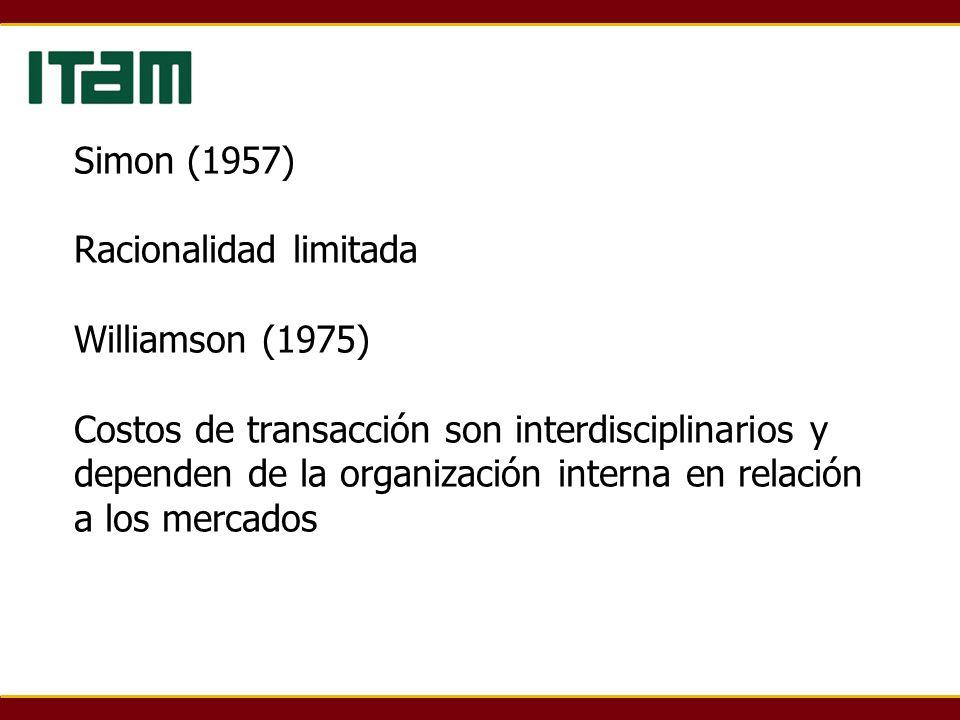 Simon (1957) Racionalidad limitada Williamson (1975) Costos de transacción son interdisciplinarios y dependen de la organización interna en relación a los mercados