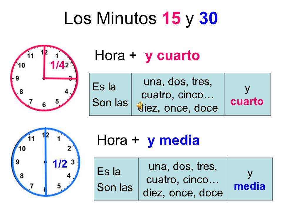 Los Minutos 15 y 30 Hora + y cuarto Hora + y media