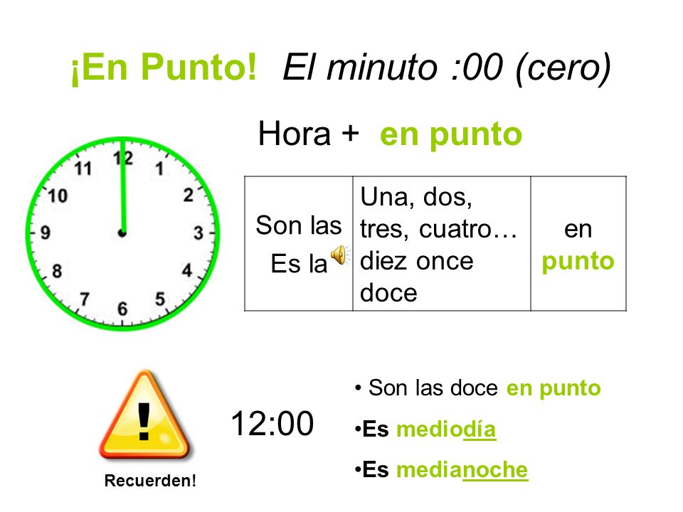 ¡En Punto! El minuto :00 (cero)