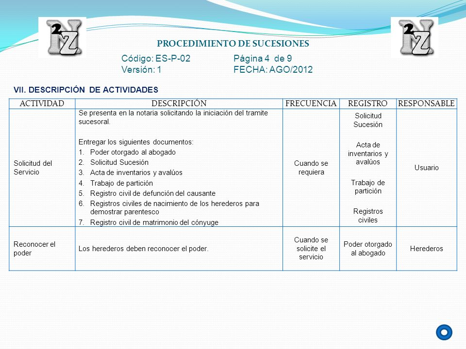 PROCEDIMIENTO DE SUCESIONES