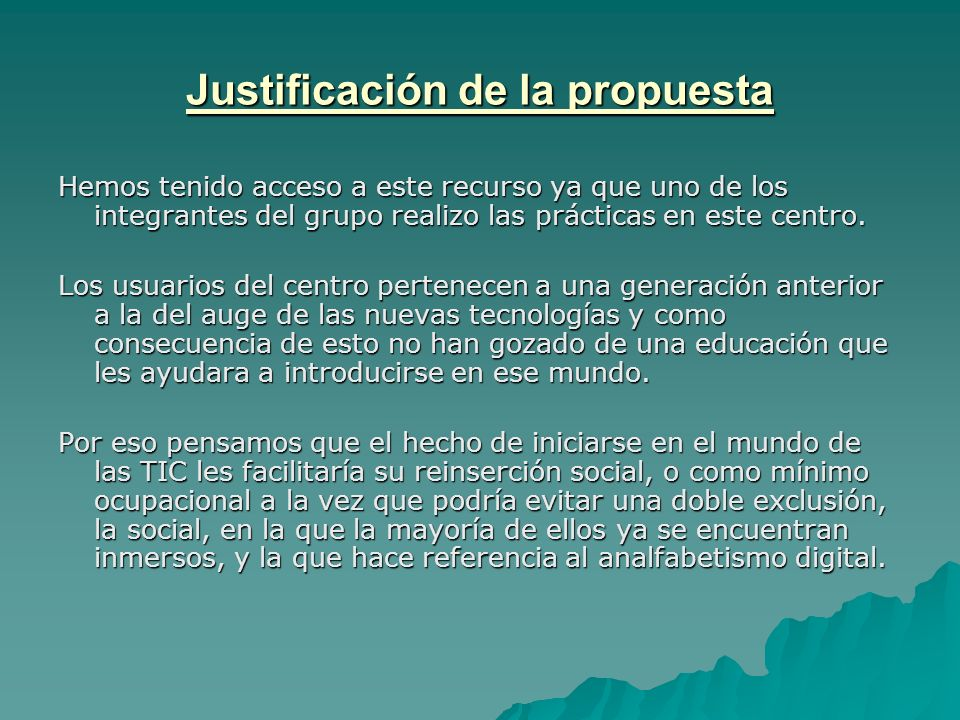 Justificación de la propuesta