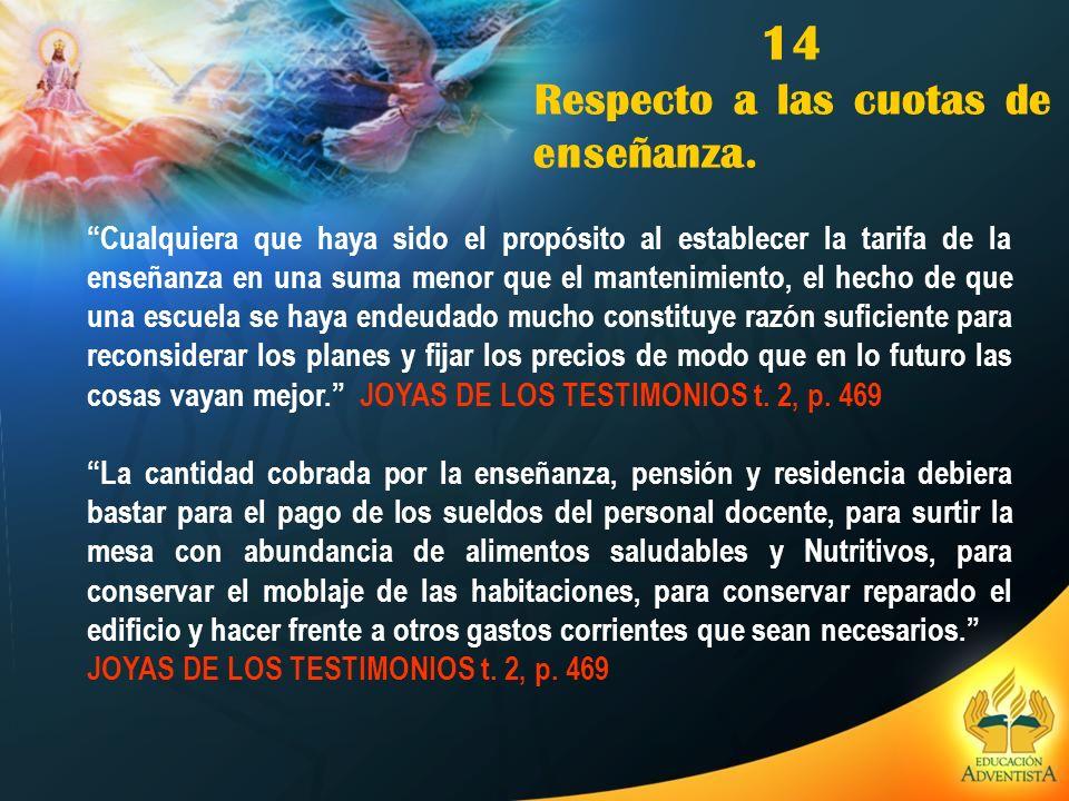 14 Respecto a las cuotas de enseñanza.