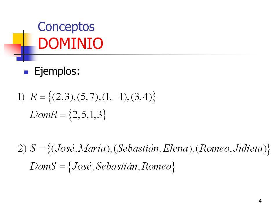 Conceptos DOMINIO Ejemplos: