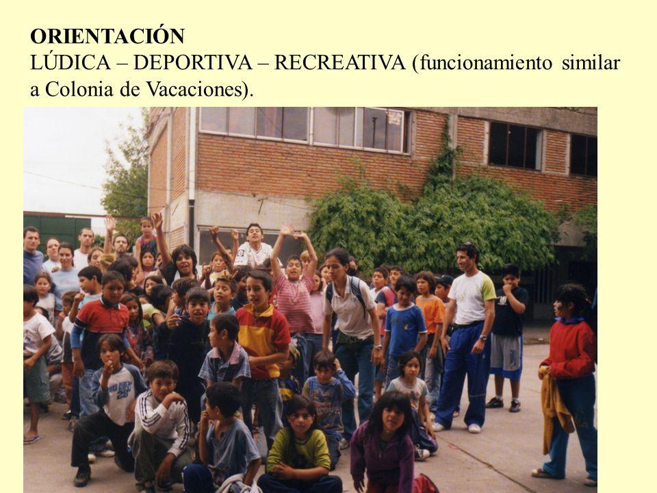 ORIENTACIÓN LÚDICA – DEPORTIVA – RECREATIVA (funcionamiento similar a Colonia de Vacaciones).