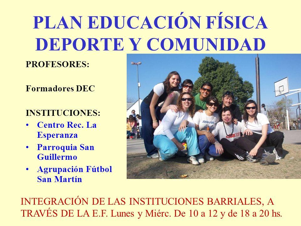 PLAN EDUCACIÓN FÍSICA DEPORTE Y COMUNIDAD