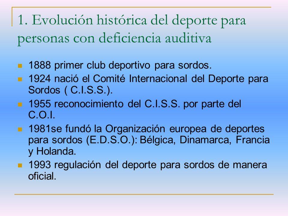 1. Evolución histórica del deporte para personas con deficiencia auditiva