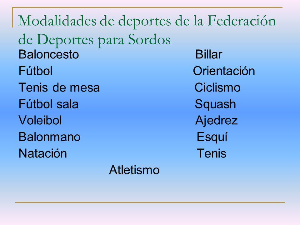 Modalidades de deportes de la Federación de Deportes para Sordos