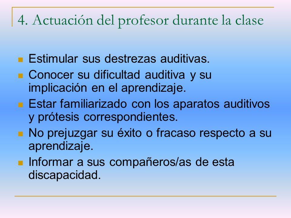 4. Actuación del profesor durante la clase