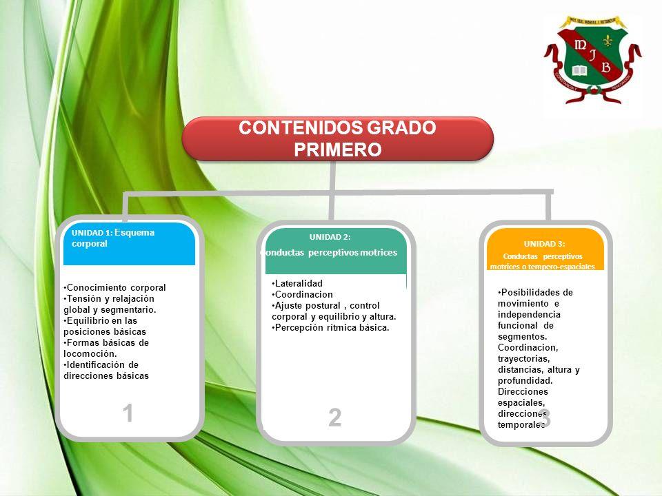 1 2 3 CONTENIDOS GRADO PRIMERO Conductas perceptivos motrices