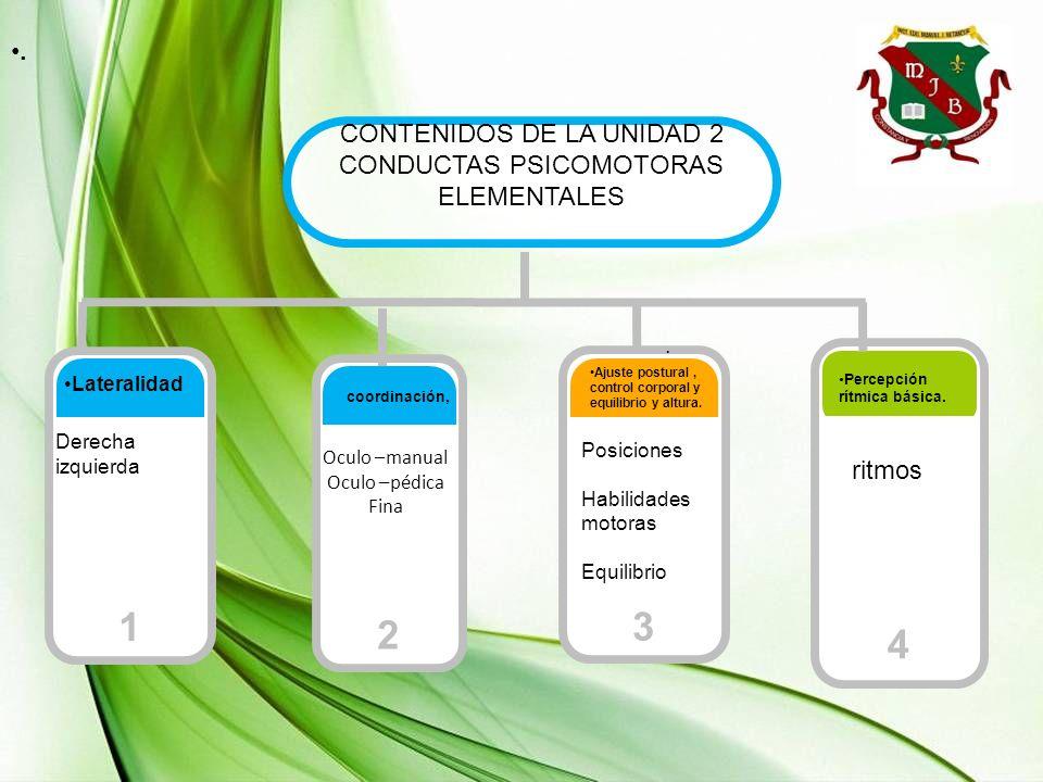 4 1 3 2 . CONTENIDOS DE LA UNIDAD 2 CONDUCTAS PSICOMOTORAS ELEMENTALES