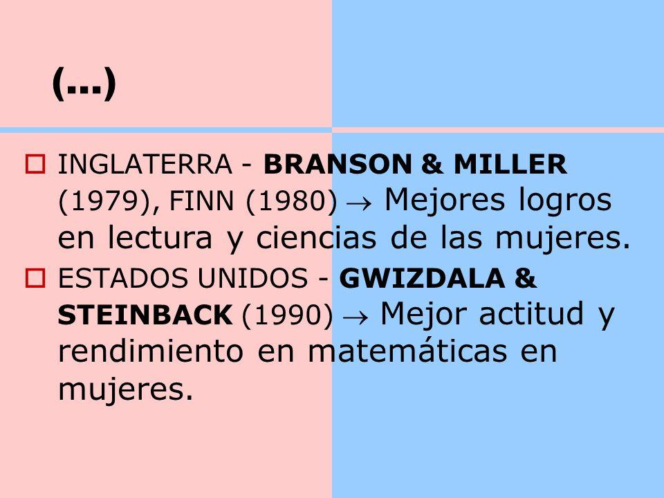 (...) INGLATERRA - BRANSON & MILLER (1979), FINN (1980)  Mejores logros en lectura y ciencias de las mujeres.
