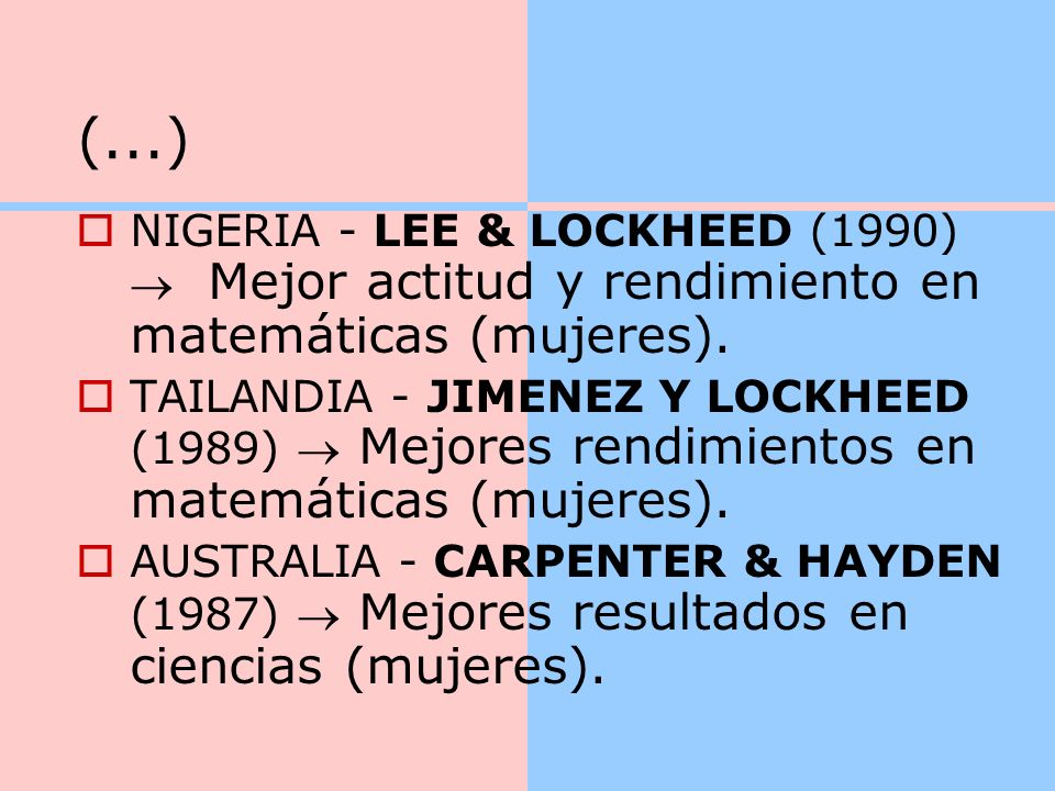 (...) NIGERIA - LEE & LOCKHEED (1990)  Mejor actitud y rendimiento en matemáticas (mujeres).