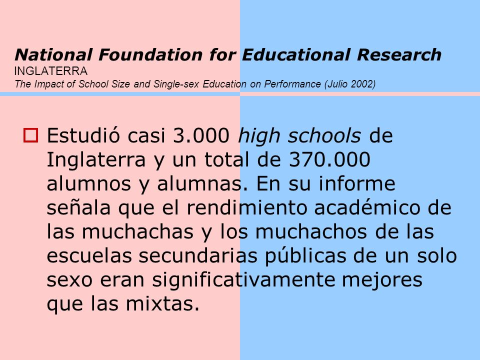 National Foundation for Educational Research INGLATERRA The Impact of School Size and Single-sex Education on Performance (Julio 2002)