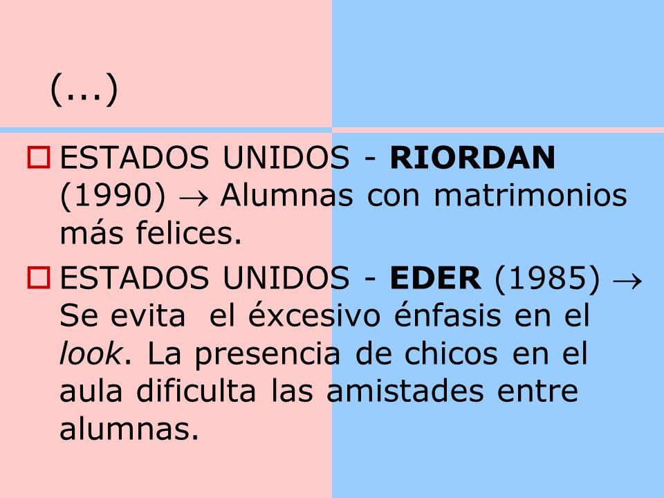 (...) ESTADOS UNIDOS - RIORDAN (1990)  Alumnas con matrimonios más felices.