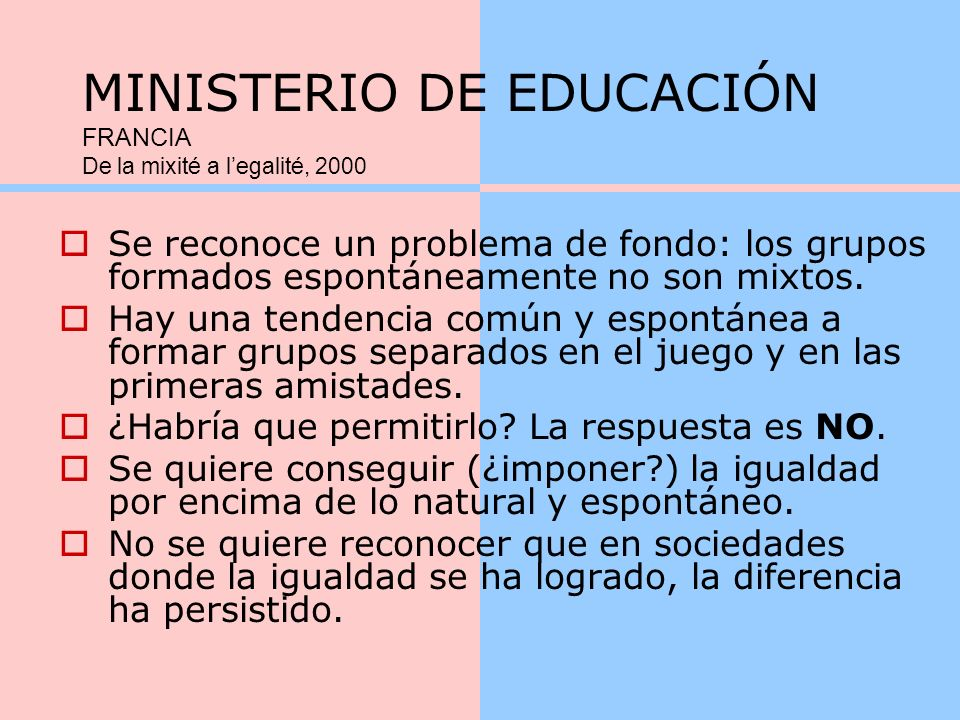 MINISTERIO DE EDUCACIÓN FRANCIA De la mixité a l'egalité, 2000