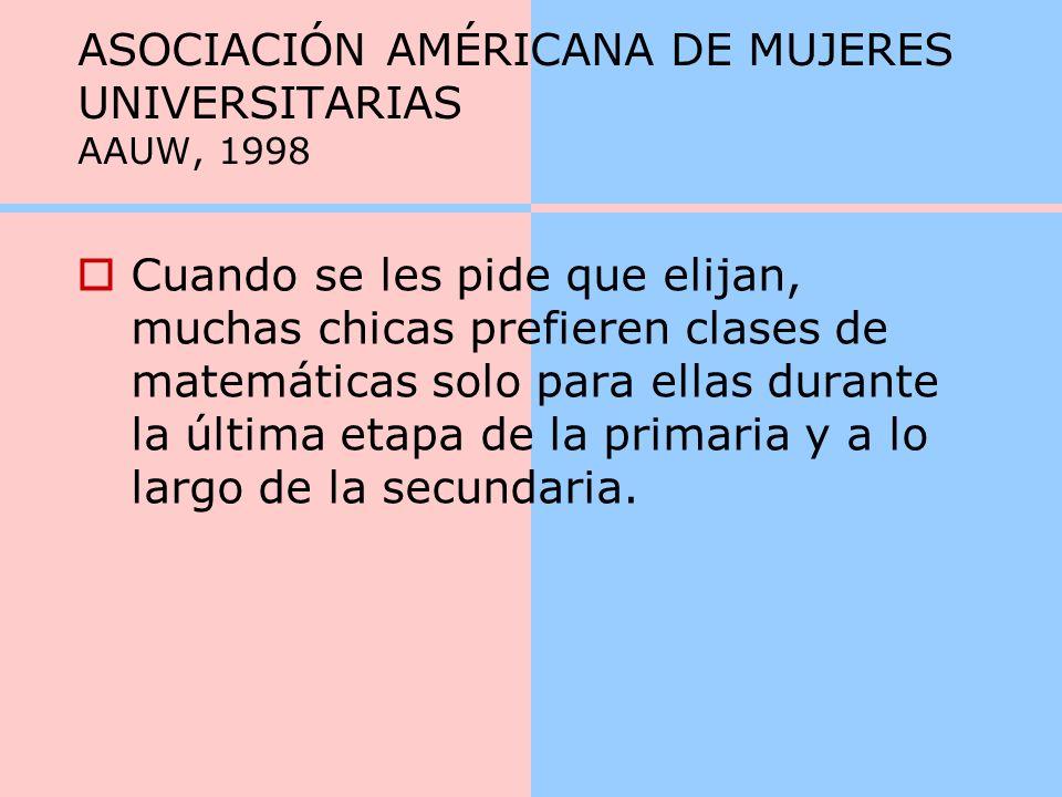 ASOCIACIÓN AMÉRICANA DE MUJERES UNIVERSITARIAS AAUW, 1998