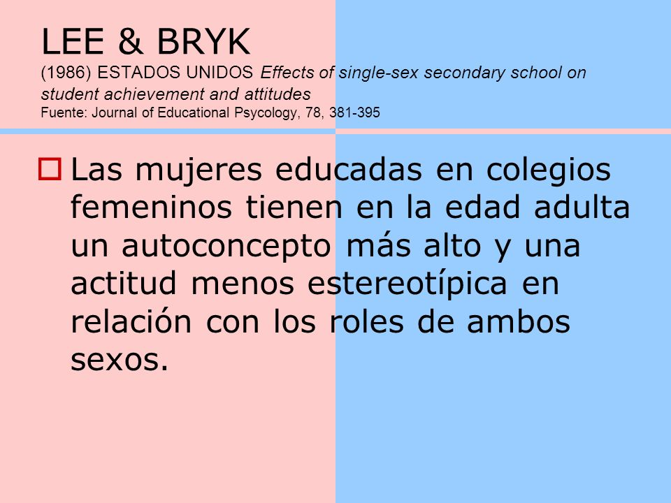 LEE & BRYK (1986) ESTADOS UNIDOS Effects of single-sex secondary school on student achievement and attitudes Fuente: Journal of Educational Psycology, 78, 381-395