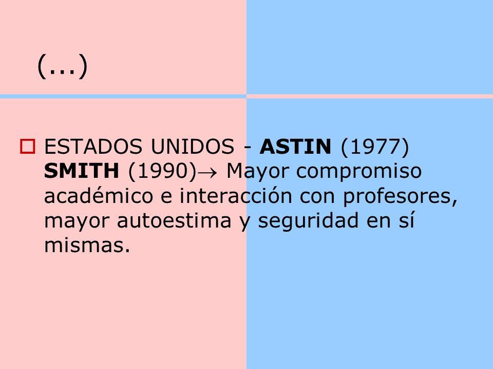 (...) ESTADOS UNIDOS - ASTIN (1977) SMITH (1990) Mayor compromiso académico e interacción con profesores, mayor autoestima y seguridad en sí mismas.