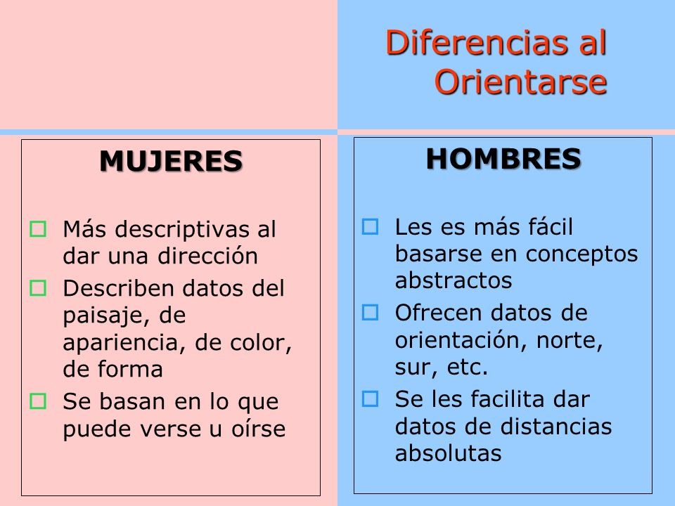 Diferencias al Orientarse