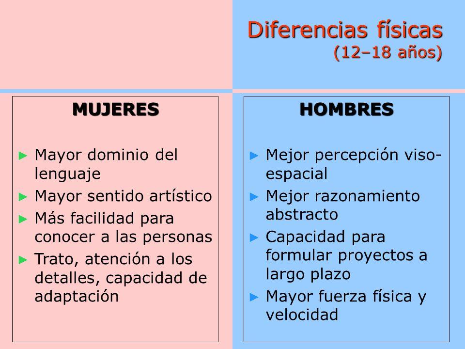 Diferencias físicas (12–18 años)