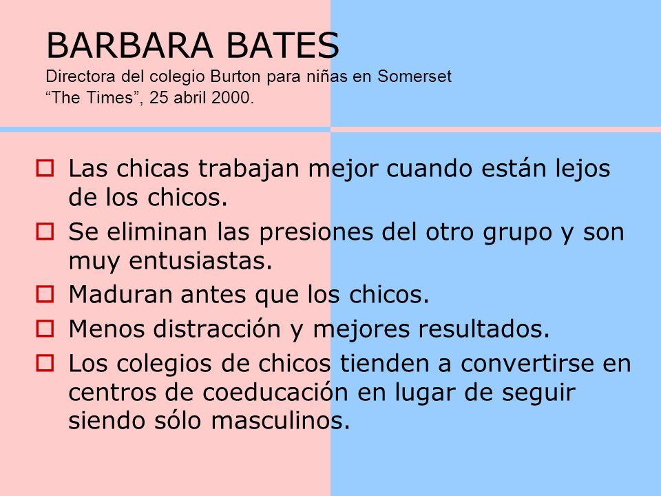BARBARA BATES Directora del colegio Burton para niñas en Somerset The Times , 25 abril 2000.