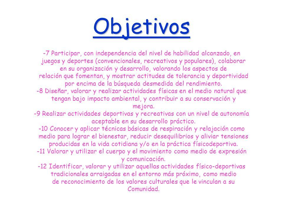 Objetivos -7 Participar, con independencia del nivel de habilidad alcanzado, en.