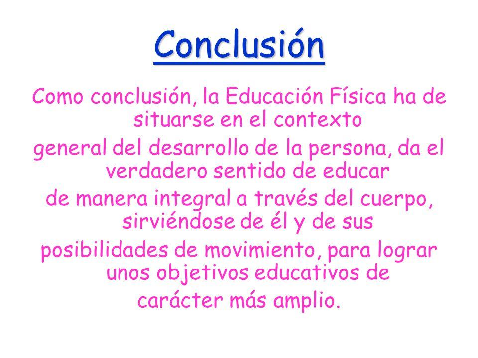 Conclusión Como conclusión, la Educación Física ha de situarse en el contexto.