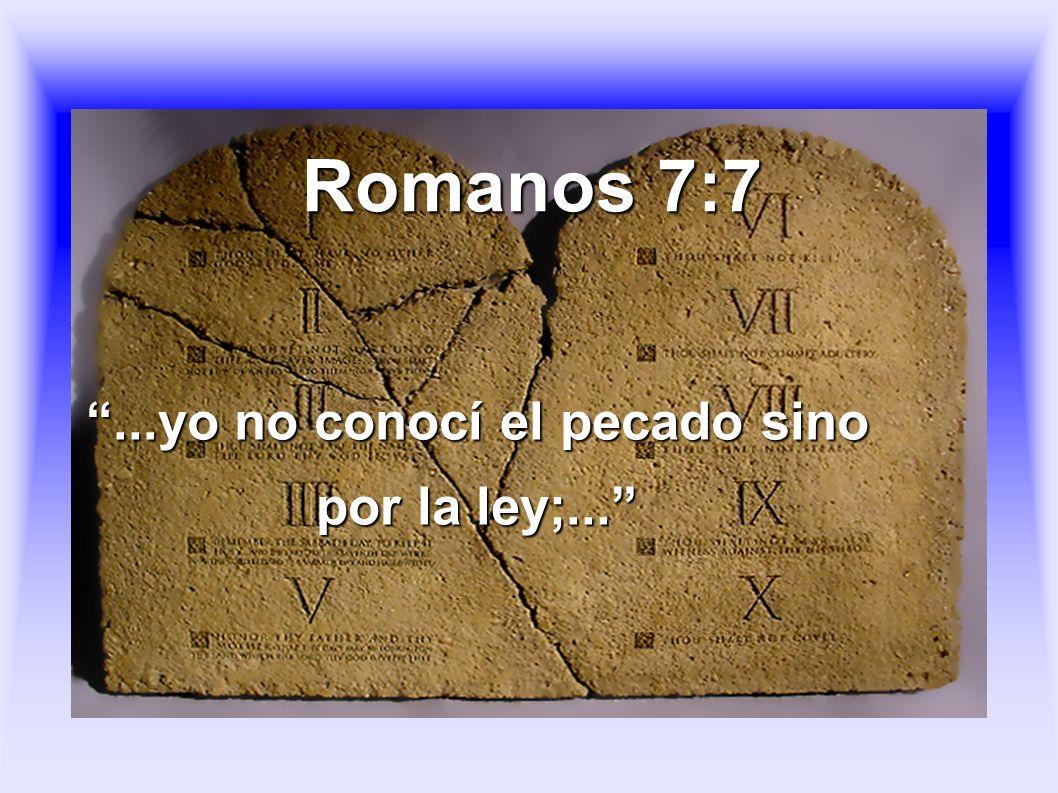 ...yo no conocí el pecado sino por la ley;...