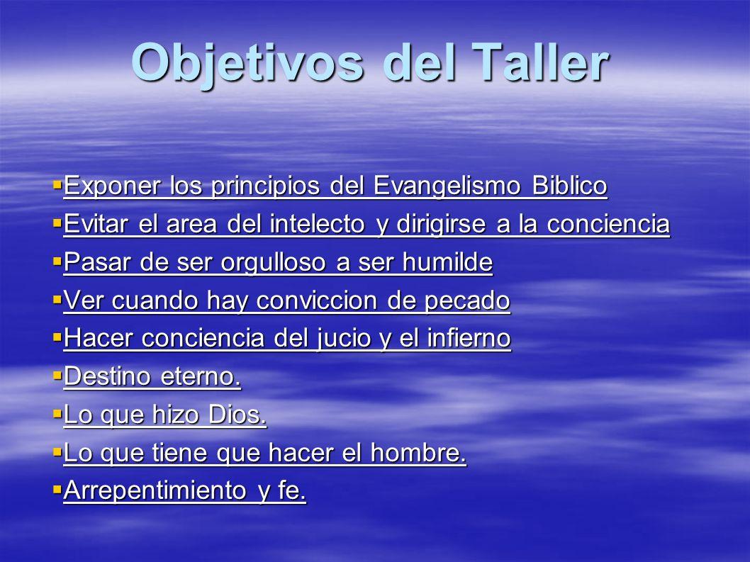 Objetivos del Taller Exponer los principios del Evangelismo Biblico