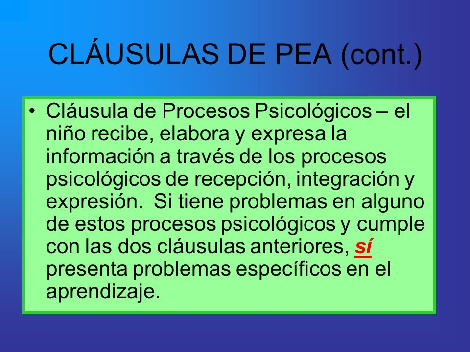 CLÁUSULAS DE PEA (cont.)