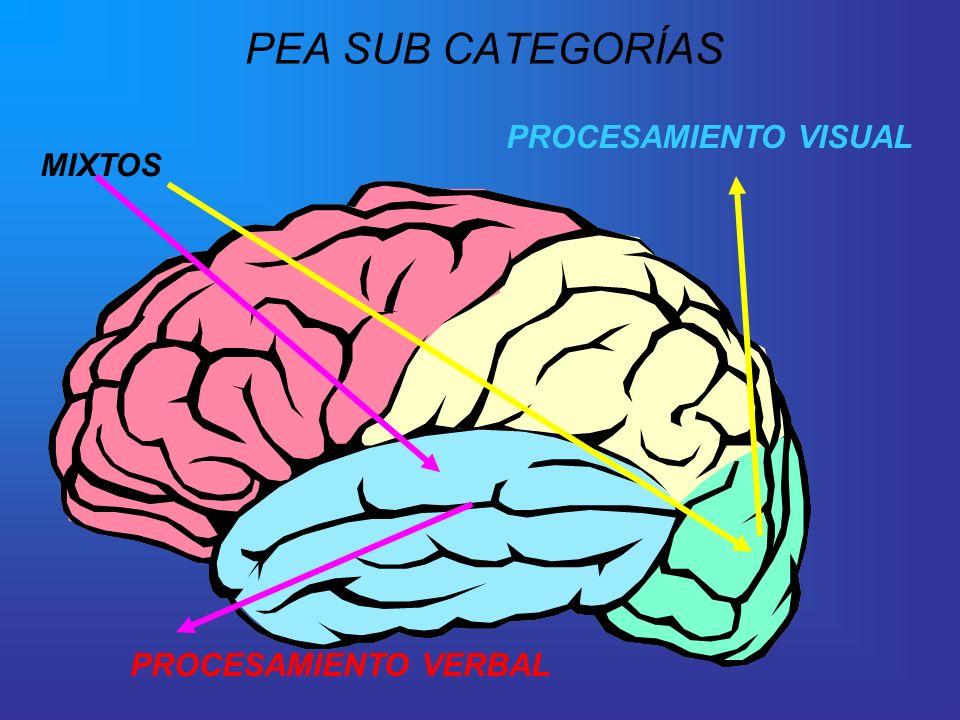 PEA SUB CATEGORÍAS PROCESAMIENTO VISUAL MIXTOS PROCESAMIENTO VERBAL