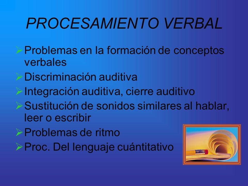 PROCESAMIENTO VERBAL Problemas en la formación de conceptos verbales