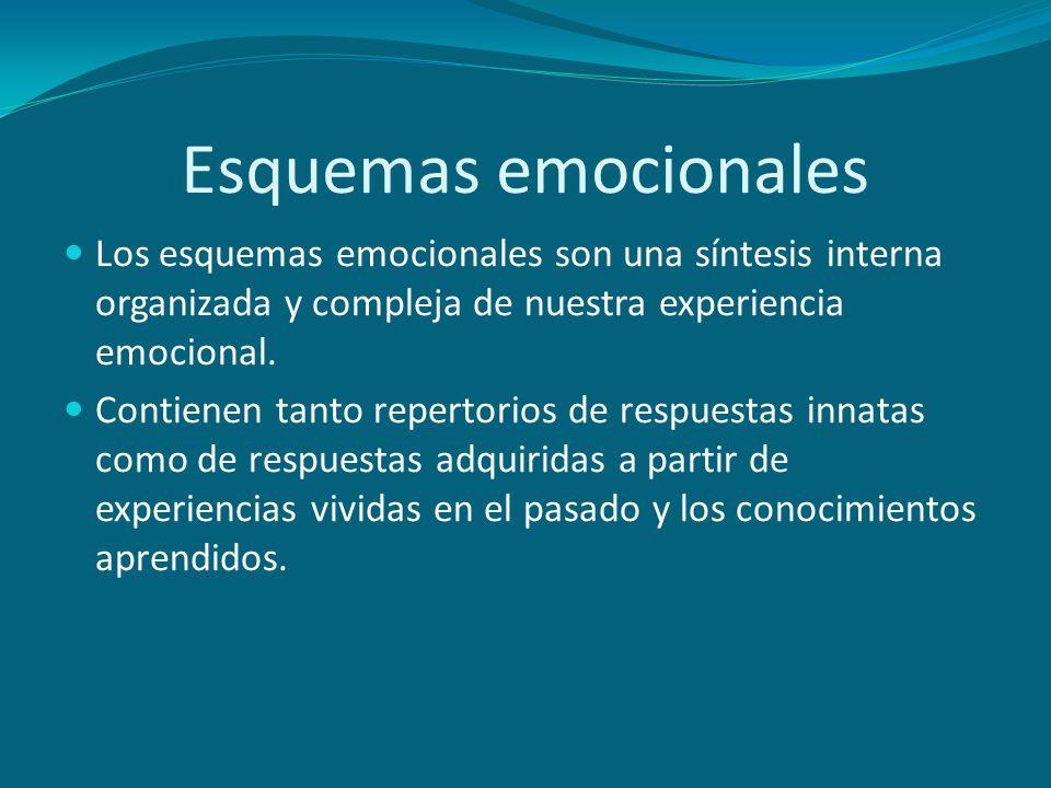 Esquemas emocionales Los esquemas emocionales son una síntesis interna organizada y compleja de nuestra experiencia emocional.