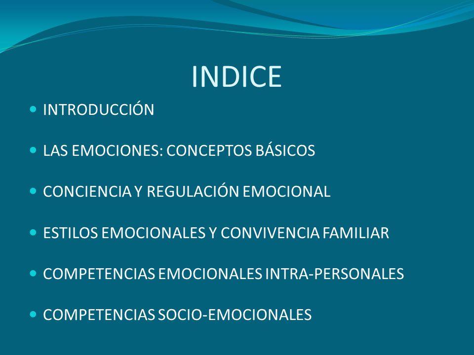 INDICE INTRODUCCIÓN LAS EMOCIONES: CONCEPTOS BÁSICOS