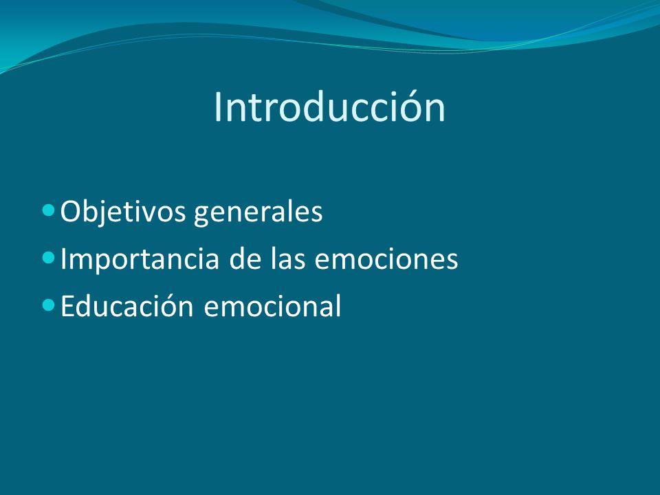 Introducción Objetivos generales Importancia de las emociones