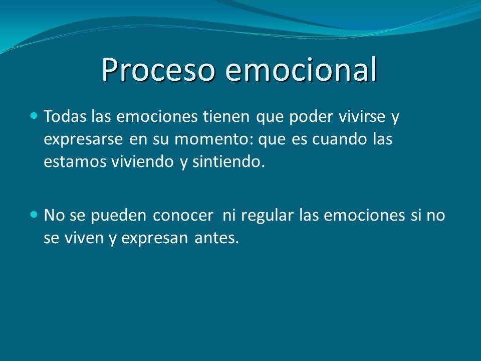 Proceso emocional Todas las emociones tienen que poder vivirse y expresarse en su momento: que es cuando las estamos viviendo y sintiendo.