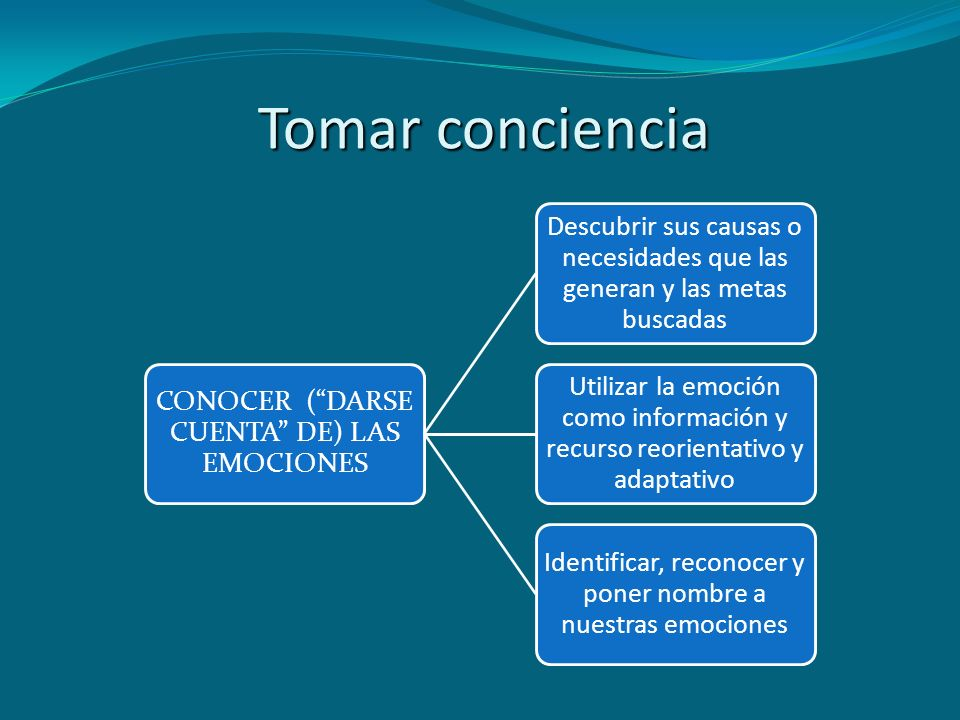 Tomar conciencia CONOCER ( DARSE CUENTA DE) LAS EMOCIONES