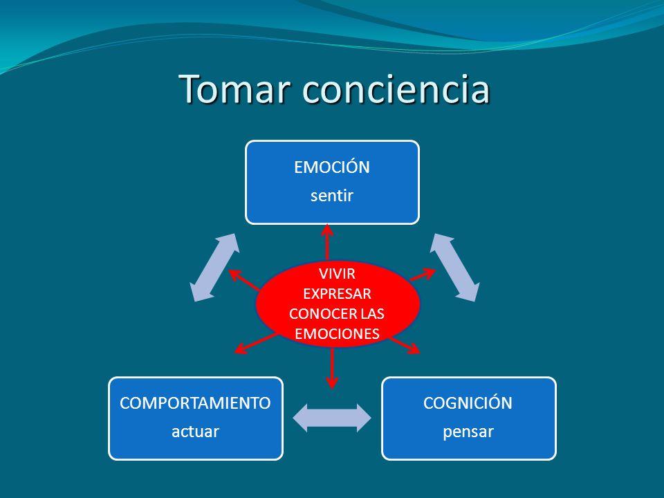 Tomar conciencia EMOCIÓN sentir COGNICIÓN pensar COMPORTAMIENTO actuar
