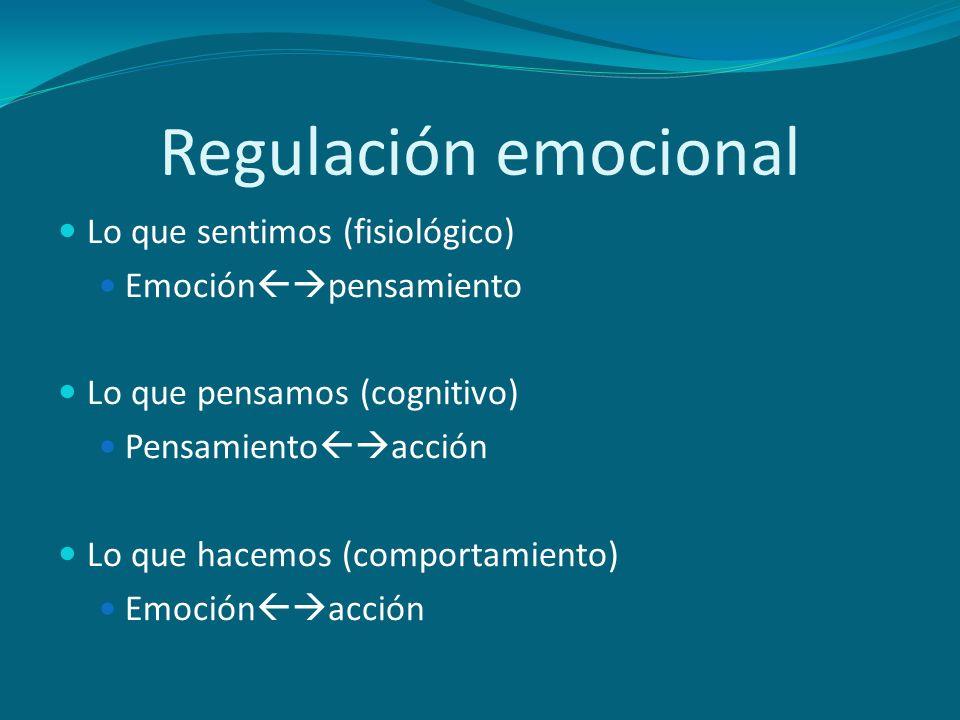 Regulación emocional Lo que sentimos (fisiológico)