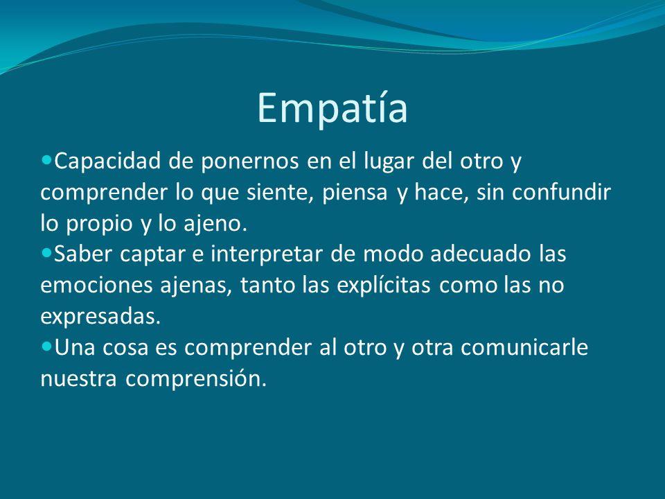 Empatía Capacidad de ponernos en el lugar del otro y comprender lo que siente, piensa y hace, sin confundir lo propio y lo ajeno.
