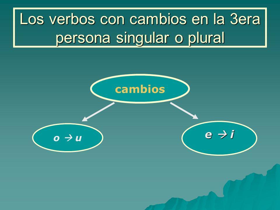 Los verbos con cambios en la 3era persona singular o plural