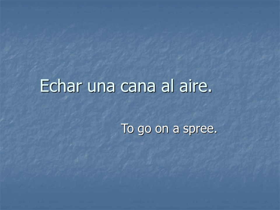 Echar una cana al aire. To go on a spree.